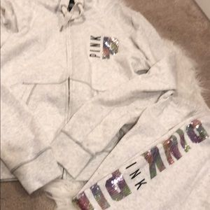 PINK full zip sweatshirt and sweats